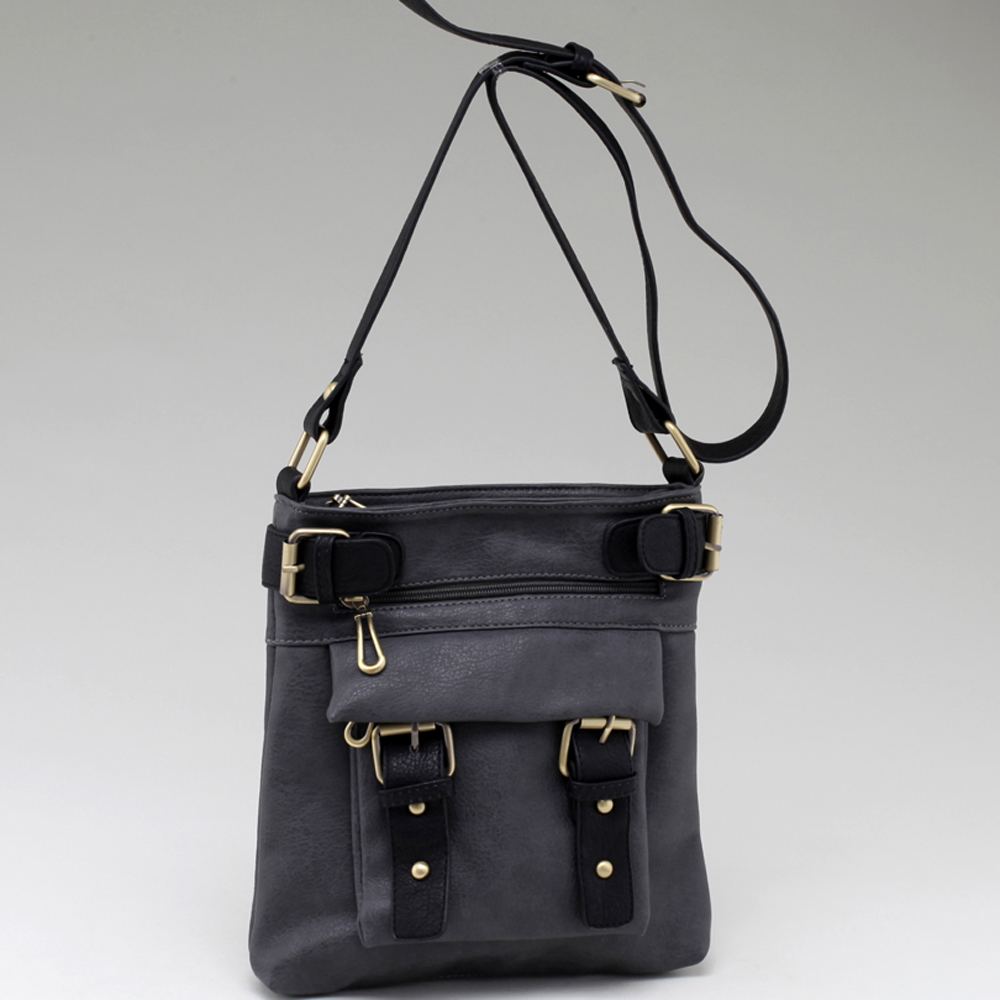 Two-tone Belted Messenger Bag with Compartments Galore-Grey/Black