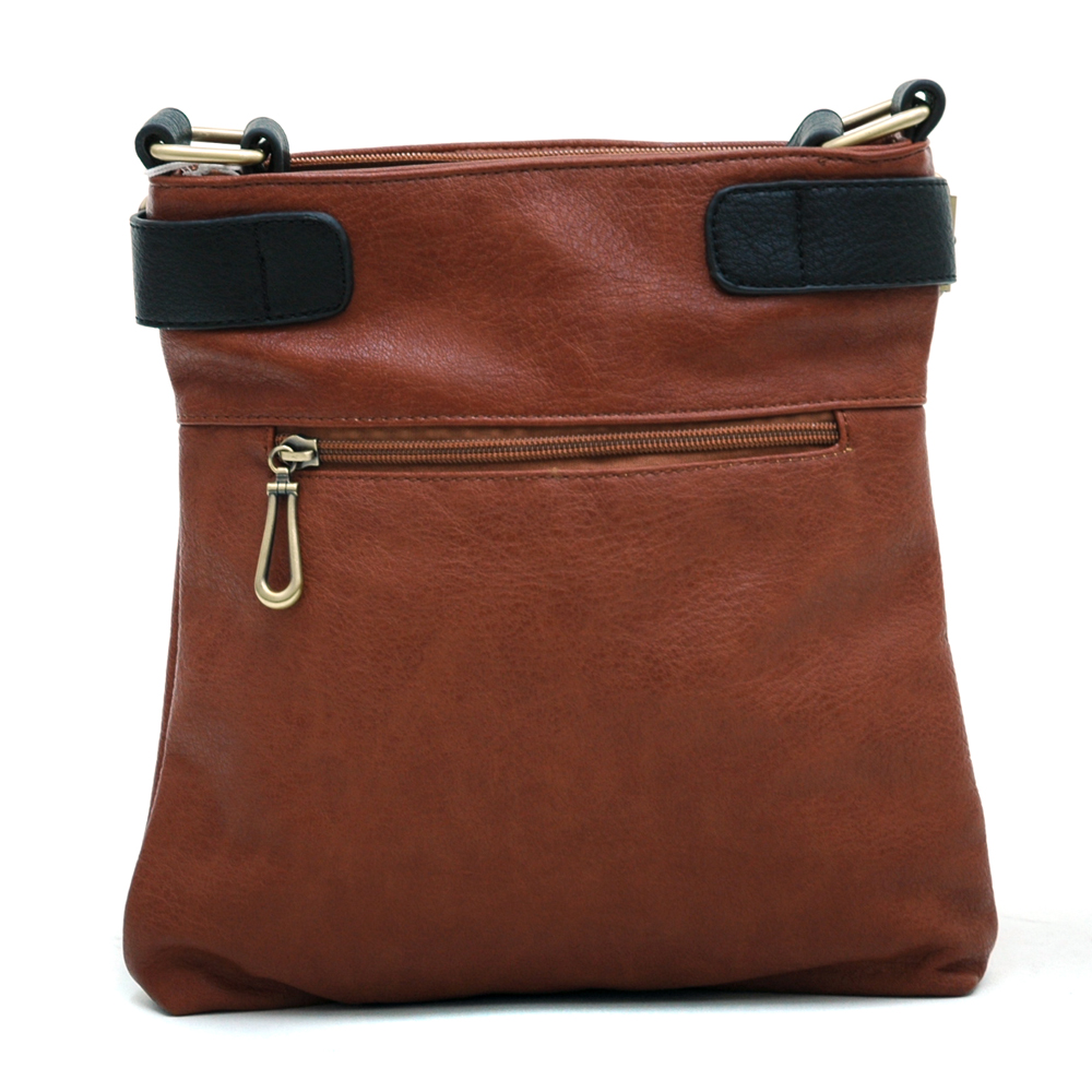 Two-tone Belted Messenger Bag with Compartments Galore-Brown/Black