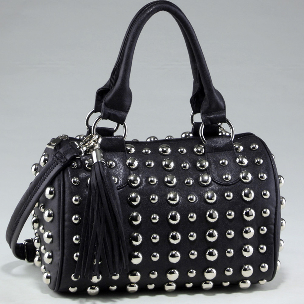 Bubbly Ball Studded Satchel with Tassel Accent & Bonus Strap-Black