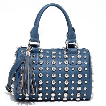 Bubbly Ball Studded Satchel with Tassel Accent & Bonus Strap-Blue