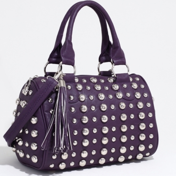 Bubbly Ball Studded Satchel with Tassel Accent & Bonus Strap-Purple