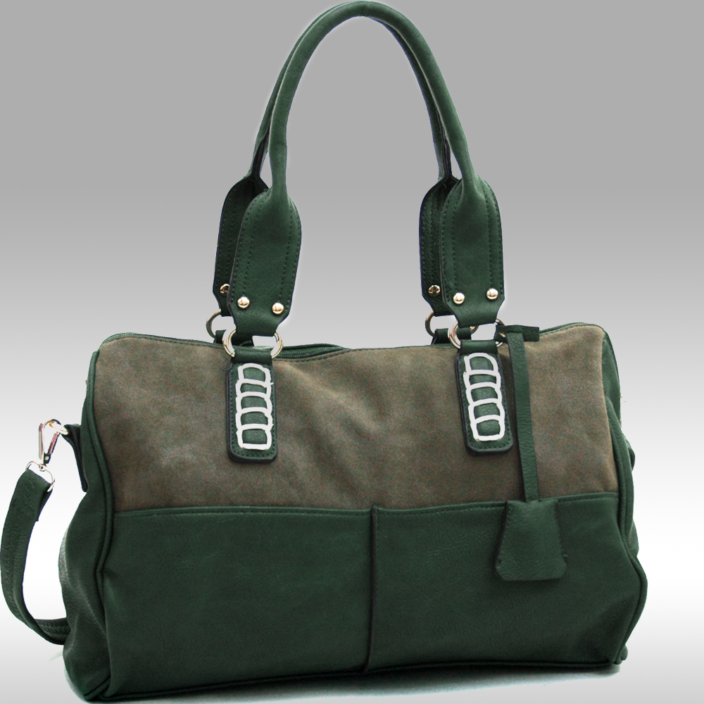 Two Tone Fashion Chic Shoulder Bag with Bonus Strap-Forest Green/Olive Green