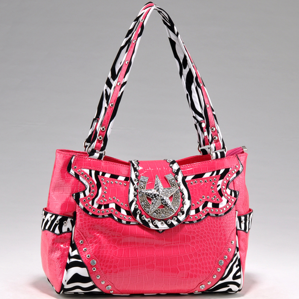 Alyssa Studded Zebra Print & Croco Shoulder Bag with Rhinestone Star Accent-Fuchsia