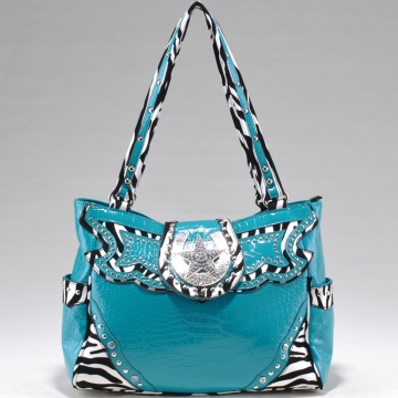 Alyssa Studded Zebra Print & Croco Shoulder Bag with Rhinestone Star Accent-Blue