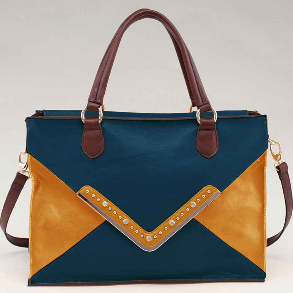 Alyssa® Studded Chevron Block Color Tote