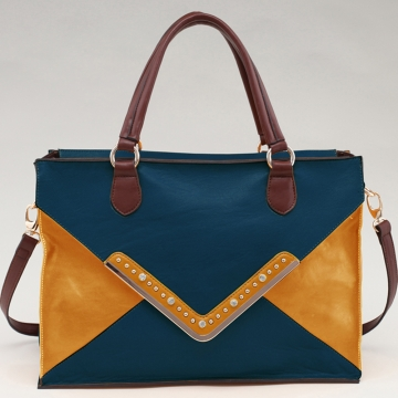 Alyssa Rhinestone Studded Color Block Tote with Gold Chevron Accent