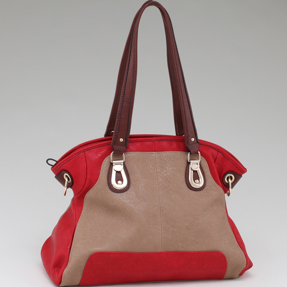 Alyssa Two Toned Shoulder Bag with Coffee Trim