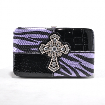 Alyssa Zebra Print and Croco Trim Frame Wallet with Rhinestone Cross-Purple/Zebra