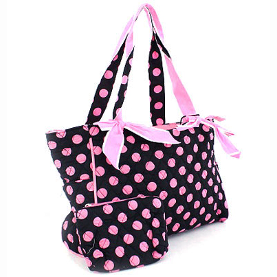 Quilted Polka Dot Tote With Bonus Makeup Bag