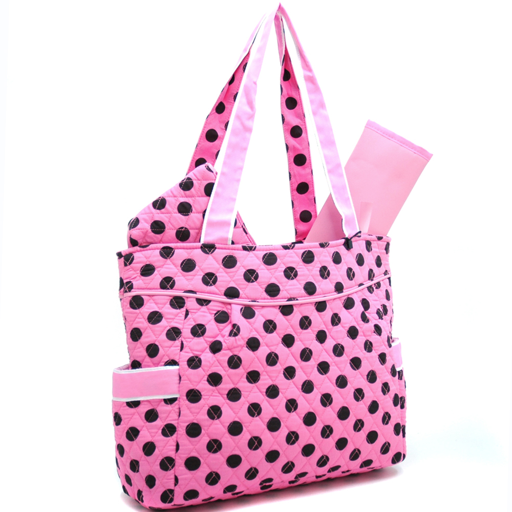 Fashlets Generic Quilted Polka Dot 3-Piece Tote
