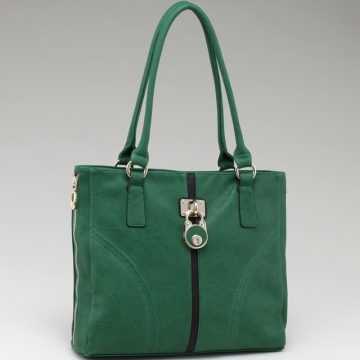Alyssa Striped Fashion Tote Bag with Lock Accent & Side Zip Decor-Green/Coffee