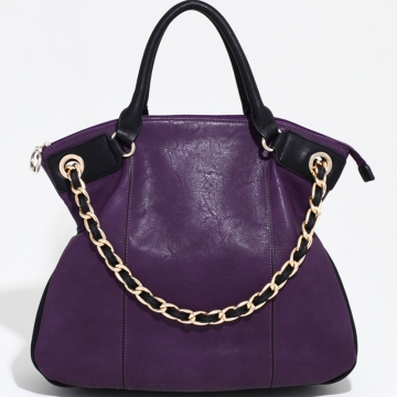 Alyssa Two Tone Chic Carrying Tote with Additional Chain Strap-Purple/Black