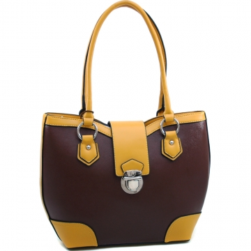 Dasein Classic Two Tone Shoulder Bag with Buckle Snap Accent-Coffee/Yellow