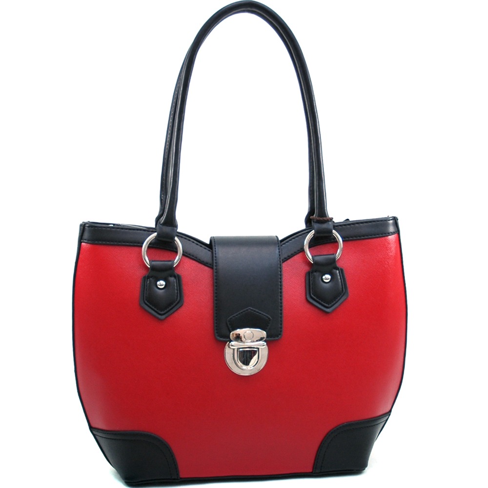 Classic Two Tone Shoulder Bag w/ Buckle Snap Accent