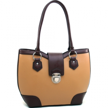 Dasein Classic Two Tone Shoulder Bag with Buckle Snap Accent-Light Brown/Coffee
