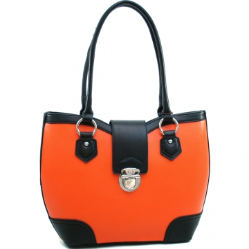 Dasein Classic Two Tone Shoulder Bag with Buckle Snap Accent-Orange/Black