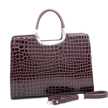 Dasein Sassy Chic Patent Croco Briefcase with Bonus Shoulder Strap-Coffee
