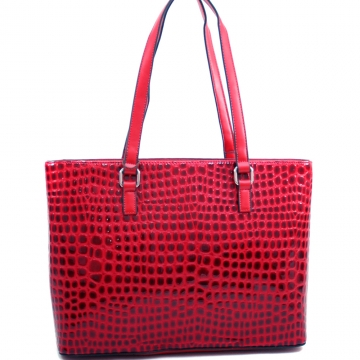 Dasein Large Patent Croco Chic Fashion Tote-Red