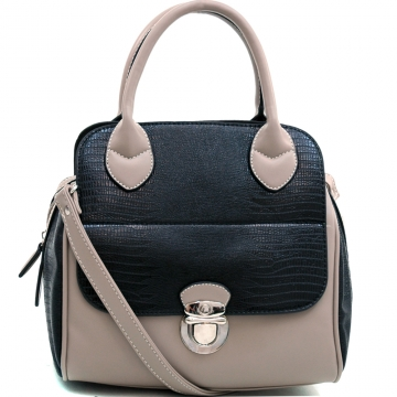 Dasein Stylish Soft Matte Croco Texture Satchel with Buckle Accent & Shoulder Strap-Black/Grey