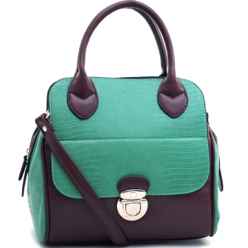 Dasein Stylish Soft Matte Croco Texture Satchel with Buckle Accent & Shoulder Strap-Mint Green/Coffee