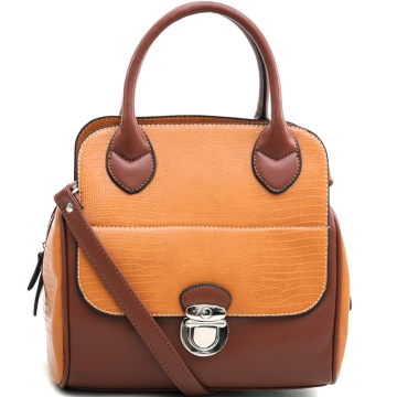 Dasein Stylish Soft Matte Croco Texture Satchel with Buckle Accent & Shoulder Strap-Brown/Tan