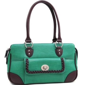 Dasein Soft Matte Croco Texture Shoulder Bag with Braided Accent-Mint Green/Coffee