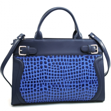 Dasein Women's Belted Patent Leatherette Croco Embossed Stylish Tote with Bonus Strap-Blue