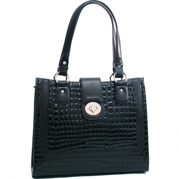 Dasein Women's Boxy Patent Leatherette Croco Embossed Fashion Tote-Black