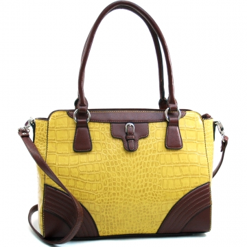 Dasein Fashion Matte Croco Shoulder Bag with Belt Accent & Bonus Strap-Yellow/Coffee