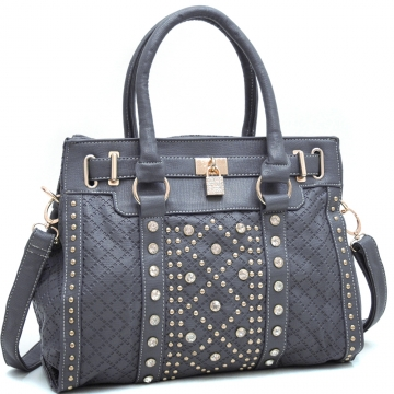 Ustyle Rhinestone Lock & Studded Satchel with Bonus Shoulder Strap