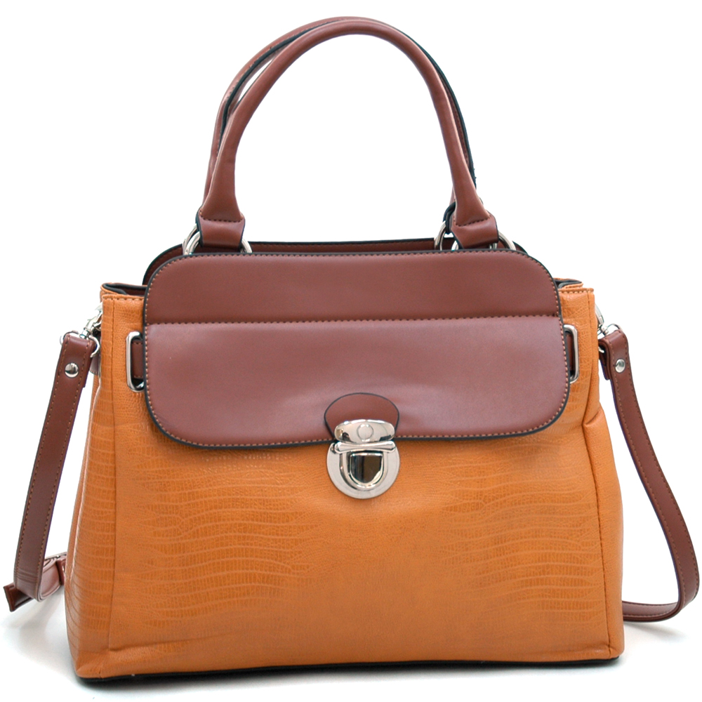 Dasein Kroco® Tall Push Lock Satchel