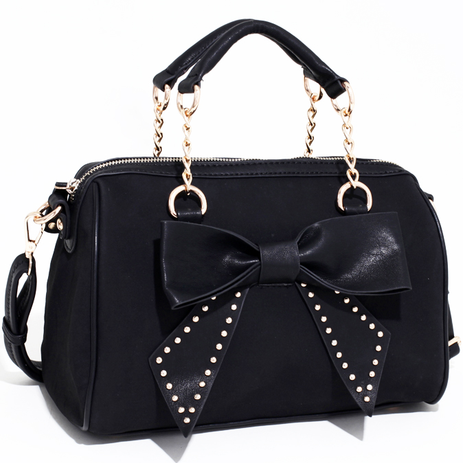 Studded Bow Adorned Mini Satchel w/ Bonus Shoulder Strap