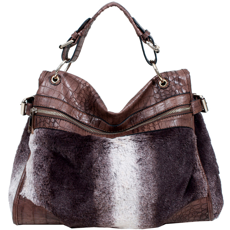 Side-Belted Croco Satchel w/ Faux Fur Accent & Bonus Strap