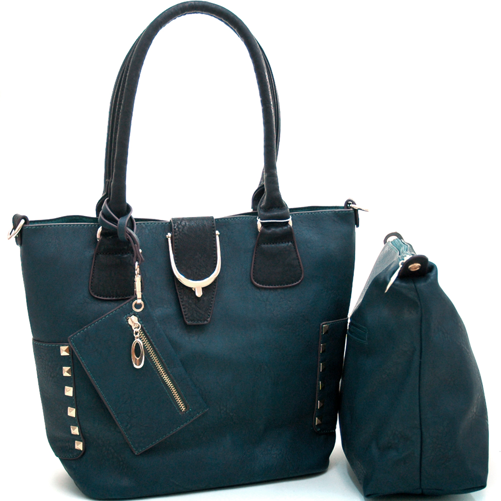 Fashion Studded 3 Piece Tote Bag Includes Inside Bonus Bag & Coin Pouch