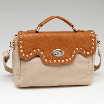 Women's Fashion Studded Briefcase w/ Snakeskin Trim & Twist-Lock Closure  Light Mustard