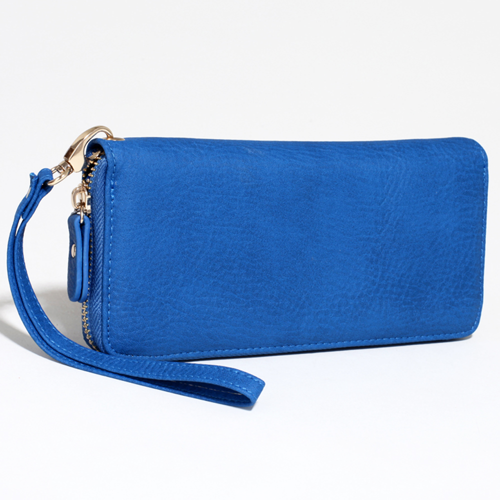 Women's Fashion Zip-Around Wallet with Detachable Wristlet Strap