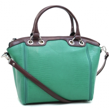 Dasein Fashion Matte Croco Texture Tote Bag with Zipper-Lined Accents-Mint Green/Coffee