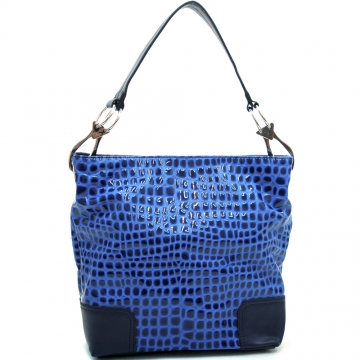 Dasein Women's Patent Leatherette Croco Embossed Stylish Hobo-Blue