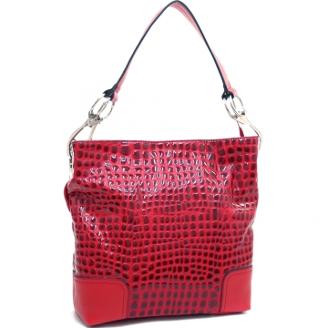 Dasein Women's Patent Leatherette Croco Embossed Stylish Hobo-Red