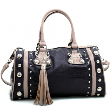 Dasein Women's Large Studded Soft Matte Croco Satchel with Tassel Docor-Black/Grey
