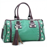 Dasein Women's Large Studded Soft Matte Croco Satchel with Tassel Docor-Mint Green Coffee
