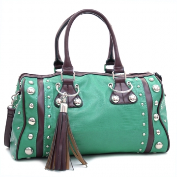 Dasein Women's Large Studded Soft Matte Croco Satchel with Tassel Docor-Mint Green/Coffee