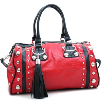Dasein Women's Large Studded Soft Matte Croco Satchel with Tassel Docor-Red/Black