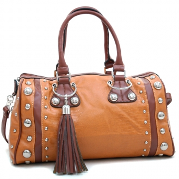 Dasein Women's Large Studded Soft Matte Croco Satchel with Tassel Docor-Brown/Tan