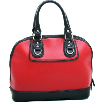 Dasein Women's Stud Accented Two-toned Zip-around Satchel-Red/Black