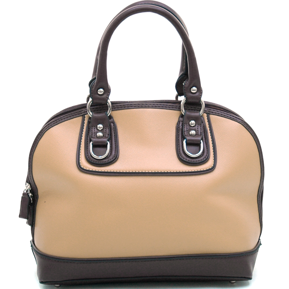 Dasein Women's Stud Accented Two-toned Zip-around Satchel-Black