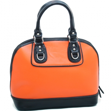 Dasein Women's Stud Accented Two-toned Zip-around Satchel-Orange/Black