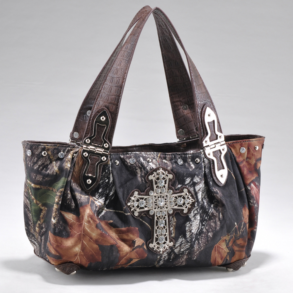 Mossy Oak® Arctic Camo Rhinestone Cross & Croco Handle Shoulder Bag