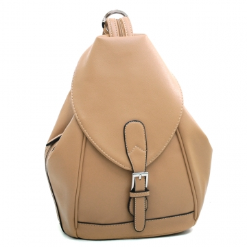 Dasein Convertible Stylish Backpack / Shoulder Bag with Zippered Strap-Light Tan