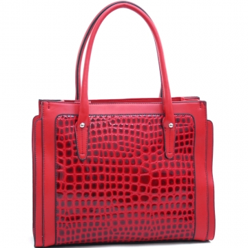 Dasein Women's Boxy Trendy Patent Leatherette Croco Tote-Red